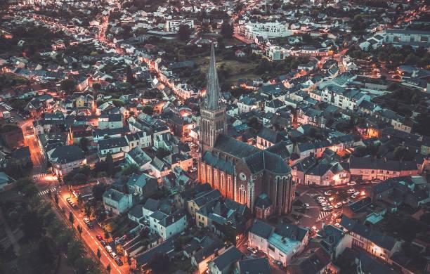 Ville de Nantes vue de haut en fin de journée